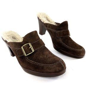 UGG Isabella Suede Sheepskin Heel Mule Shoes 5565